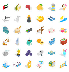 Travel in emirates icons set isometric style vector