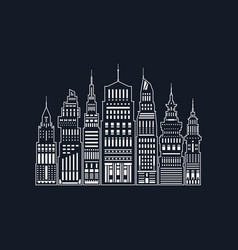 White silhouette modern big city line style vector