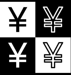Yen sign black and white icons and line vector