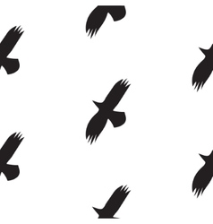 Black raven birds seamless pattern in vector