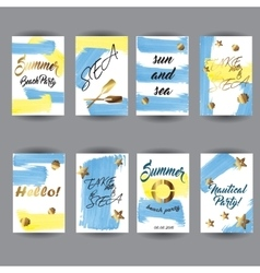 Summer hand drawn card posters set vector