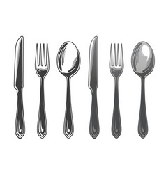 Cutlery set spoon fork and knife tableware top vector