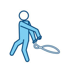 Blue line pictogram man jumping rope workout vector
