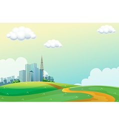 Hills across the tall buildings vector
