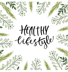 Inspirational calligraphy healthy lifestyle vector
