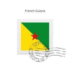 French guiana flag postage stamp vector