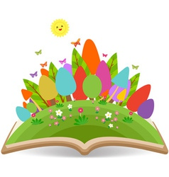 Spring with grass garden in the book vector