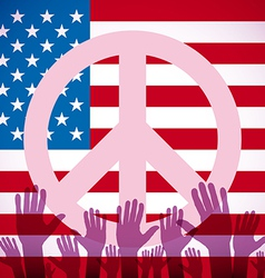 Long usa flag icon with peace sign vector