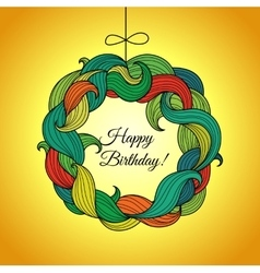 Happy birthday card with wreath of colored foliage vector