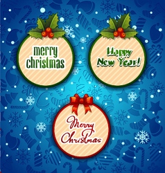 Merry christmas creative label blue background vector
