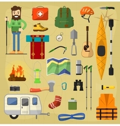 Camping equipment symbols vector