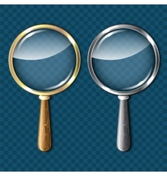 Pair of magnifying glasses on blue background vector