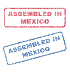 Assembled in mexico textile stamps vector