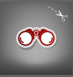 Binocular sign red icon with vector