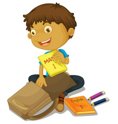 Boy packing schoolbag vector image vector image