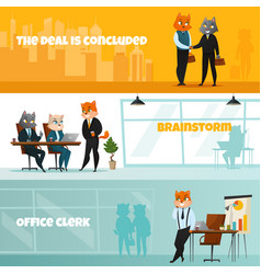 business cat horizontal banner set vector image