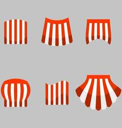 Canopy awning striped store set vector