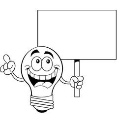 Cartoon light bulb holding a sign vector