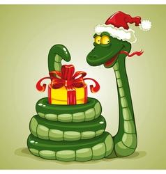 Christmas Snake vector image vector image