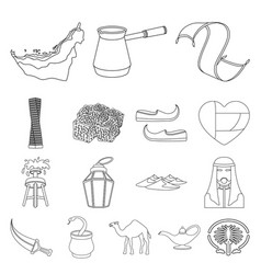 Country united arab emirates outline icons in set vector