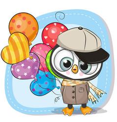 cute cartoon penguin with balloon vector image vector image
