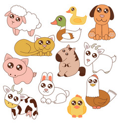 cute farm animals set in vector image vector image