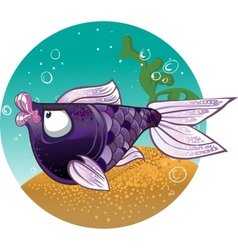 Dark violet fish on the bacground vector