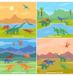 Dinosaurs 2x2 design concept vector