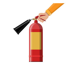 Fire extinguisher in hand fire equipment vector