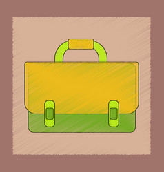 Flat shading style icon school bag backpack vector