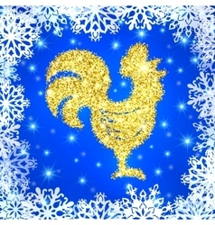 Glitter crowing rooster with stars on blue vector