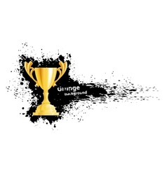 Grunge banner with gold cup vector image