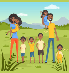 happy black family with many children on nature vector image vector image