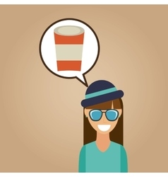Hipster girl cup coffee vintage background vector