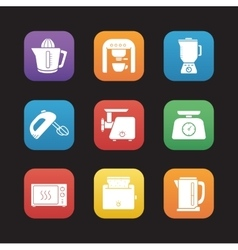 Kitchen electronics flat design icons set vector image