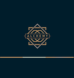 Linear gradient logo on alchemy vector