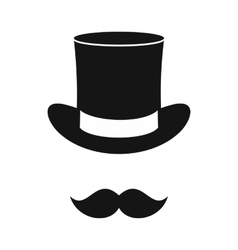 Male black mustache and cylinder icon vector image vector image