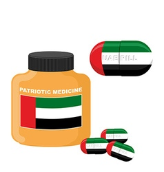 National patriotic medicine uae pill with the flag vector