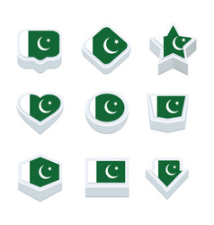 Pakistan flags icons and button set nine styles vector