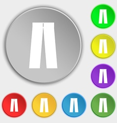 Pants icon sign symbol on eight flat buttons vector