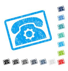 Phone settings icon rubber watermark vector