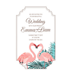 Pink flamingos couple wedding invitation frame vector
