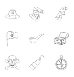 Pirates set icons in outline style big collection vector