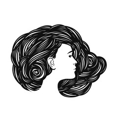 portrait of beautiful girl young woman with long vector image vector image