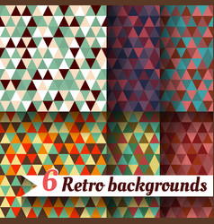 retro backgrounds with triangle set of 6 items vector image vector image