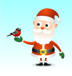 Santa Claus with bullfinch vector image vector image