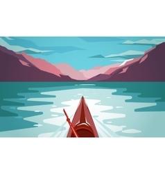 Sea kayaking at Norway fjord Fun outdoor journey vector image vector image