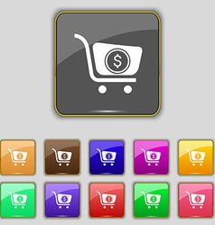 shopping cart icon sign Set with eleven colored vector image