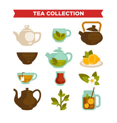 Tea collection of cups teapot and teabags vector