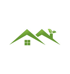 twin green home with leaf logo vector image vector image